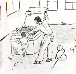 Searching for food in the courtyard, drawn by Mary Berg